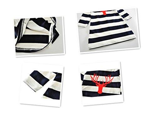 Minetom Rundhals A-Linie Kleid Mutter und Tochter Langarm Knielang Mode Hirsch Muster Streifen Stitching Kleid Familie Collocation Kleidung Streifen