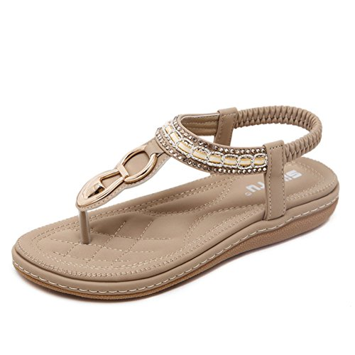 DCRYWRX Frauen Sandalen Strass Flachen Zehen Sandalen Elastic Dew Mit Strap Flat Bottom Strap Toe Schuhe Bohemian,Beige,40
