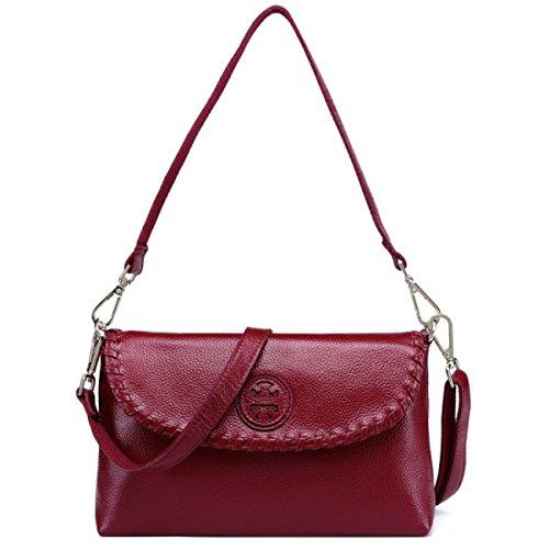Tracolla In Pelle Delle Donne Messenger Bag,Black winered
