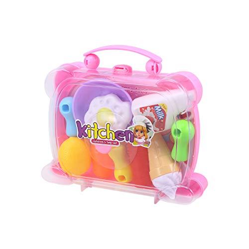 TOYANDONA Kinder Obst Schneiden Spielzeug Set Essen und Gemüse vorgeben Spielen pädagogisches Küche Spielzeug (146A zufällige Farbe)