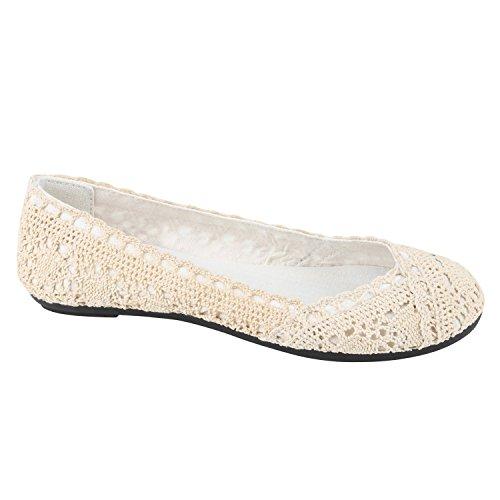 Klassische Übergrößen Damen Ballerinas Lederoptik Freizeit Flats Schuhe Creme Spitze