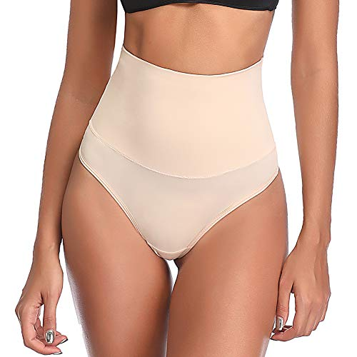 Joyshaper Damen String Tanga Atmungsaktive Panties Figurformende Thong Hohe Taille Nahtlose Unterhose Miederslip mit Bauch-Weg-Effekt, Beige, M -