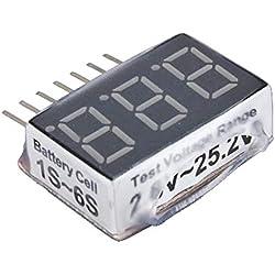 2015 caliente 1-6s RC 1S-6S LED de baja tensión Zumbador Alarma Lipo Batería Indicador de voltaje Comprobador Comprobador de prueba 2.8V -25.2V-Multicolor-1 Tamaño