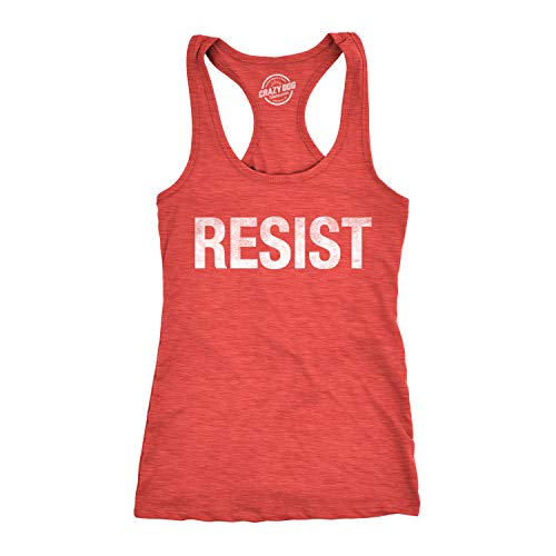 Crazy Dog Tshirts - Womens Resist Tee United States of America Protest Rebel Political Fitness Tank Top (Heather Red) - 3XL - Damen - 3XL - Wmns Logo Tee