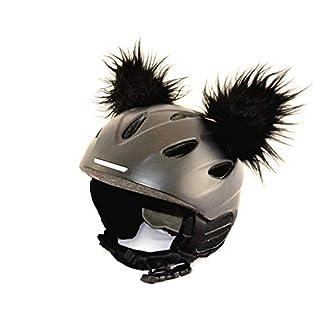 Helm-Ohren für Skihelm, Snowboardhelm, Kinder-Helm, Kinder-Skihelm, Motorradhelm, Fahrradhelm - Helmdeko für Kinder und Erwachsene (Schwarz)