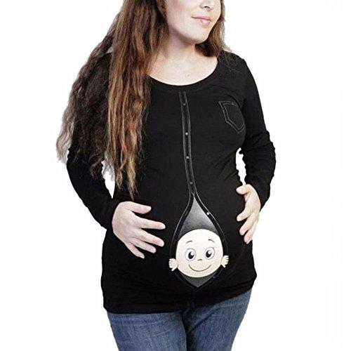 MEIHAOWEI Schwangere Mutterschaft T Shirts Lässig Schwangerschaft Umstandsmode Schwarz 4XL (Mutterschaft T-shirt Schwanger)