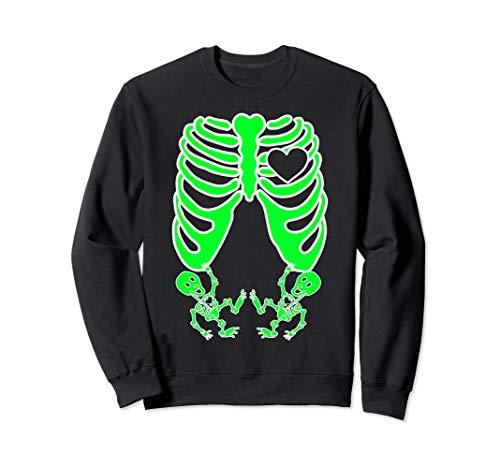 Für Zwillinge Kostüm - Schwangere Röntgen-Skelett Zwillinge Kostüm Mutter Halloween Sweatshirt