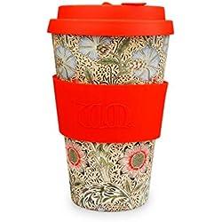 Ecoffee Cup Taza de café + William Morris: Vaso de cornalina con Silicona roja, 354 ML