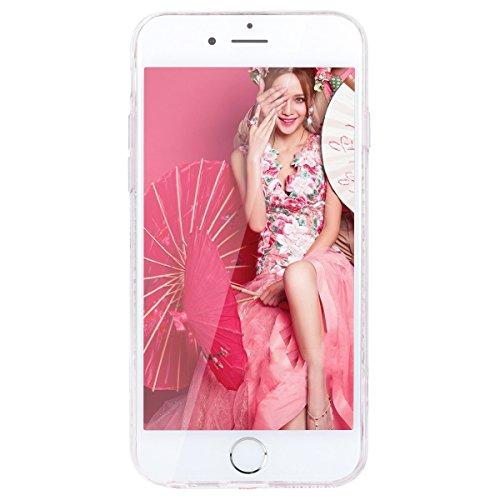 GrandEver iPhone 6 Plus/iPhone 6S Plus Hartschale Hart Hülle Glitzer Schutz Bling Hardcase Rückschale Schutzhülle für Samsung iPhone 6 Plus/iPhone 6S Plus Bumper Klar Dünne Ultra Slim Rückseite Clear  Rose Rote Steigung