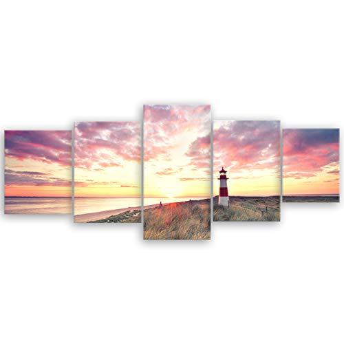ge Bildet® hochwertiges Leinwandbild XXL Naturbilder Landschaftsbilder - Leuchtturm auf Sylt - Strand Natur Sonnenuntergang - 200 x 80 cm mehrteilig (5 teilig) 2212 T