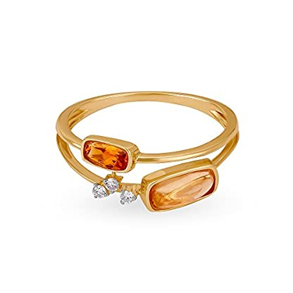 Mia by Tanishq 14KT Yellow Gold, Diamond and Citrine Ring for Women