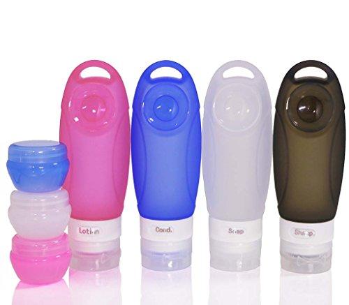 SMING 3 Flüssigunzen / 89 ml Silikon-Flaschen set ohne Auslaufen, BPA-frei, TSA-Airline genehmige auslaufsichere Flasche mit Saugnapf(7 pack (Multi))