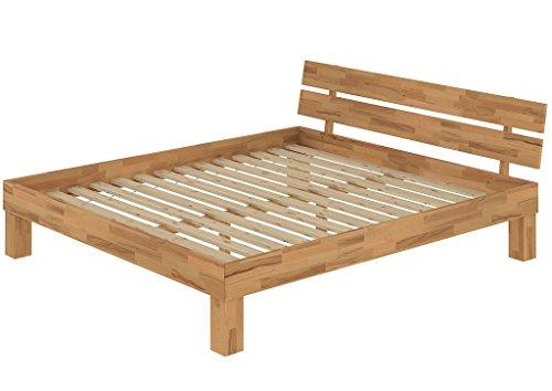 Erst-Holz® Ehebett Doppelbett 180x200 Kingsize-Bett Futonbett Buchebett massiv Natur Rollrost 60.86-18