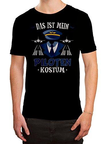 Kostüm Pilot Premium T-Shirt   Verkleidung   Karneval   Fasching   Herren   Shirt, Farbe:Schwarz (Deep Black ()