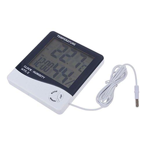 TOOGOO(R) HTC-2 Digitalen Innen/Aussen Thermo- und Hygrometer Temperatur- und Feuchtigkeitsmessgeraet Tester mit Zeit/Uhr(Weiss) -