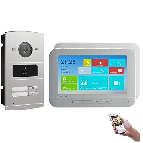 WLAN 2 Familienhaus IP Video Türsprechanlage, Unterputz-Türstation IP65, 7 Zoll Monitor, HD-Kamera 130°, Foto-/Video-Speicher, PoE-Switch, Farbe: 2x7\'\' Monitor