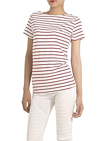 iB-iP Women's Cotton Blended Navy Stripes Pattern Round Neck T-Shirt Knit Tees, Size: XL, Red &