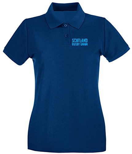 Cotton Island - Polo pour femme TRUG0093 ruggershirts scotland rugby2 logo Bleu Navy