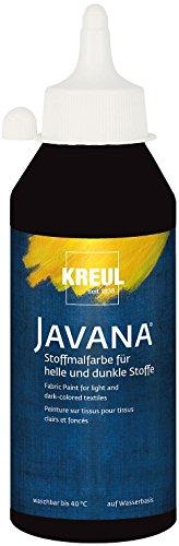 Kreul 91461 - Javana Stoffmalfarbe für helle und dunkle Stoffe, brillante Farbe mit pastosem Charakter, 250 ml Flasche, schwarz