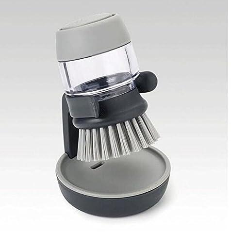 Ulooie de cuisine Scrub Poêle Lavage de la vaisselle Palm Scrub Brosse de Distributeur de savon avec l'Outil de support de rangement (Gris)