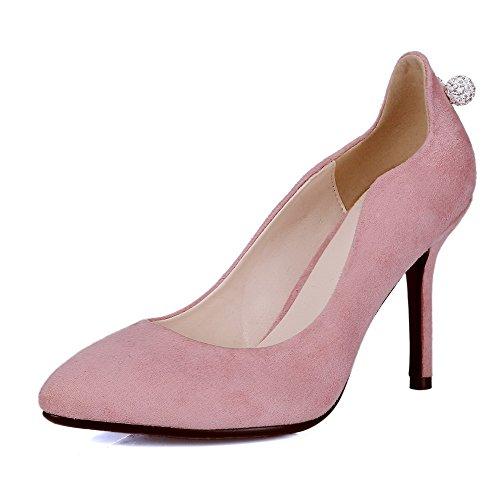 AllhqFashion Damen Ziehen Auf Nubukleder Spitz Zehe Hoher Absatz Rein Pumps Schuhe Pink
