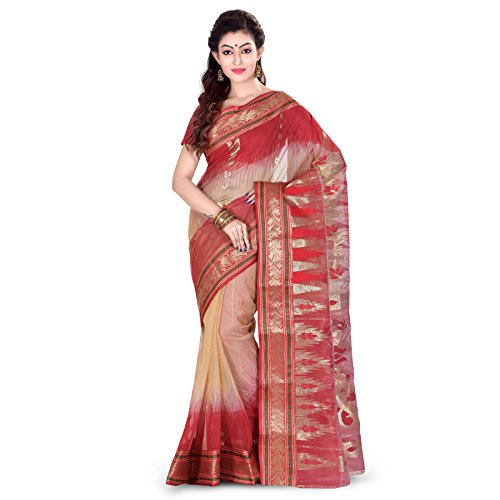 Woodentant Silk Banarasi Saree In Beige And Red In Bengali Pattern