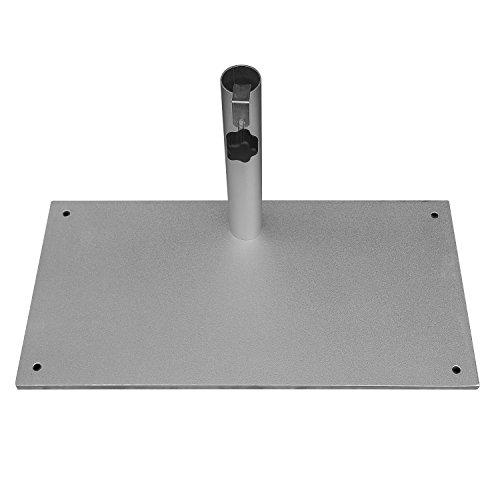 DELSCHEN Balkon-Sonnenschirmständer 23 kg aus Stahl Silber für Stammdicken bis 40 mm
