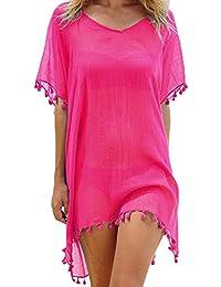 PINKMILLY Las mujeres de gasa borla Ropa de baño vestido de playa