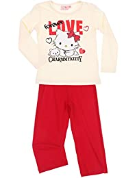Pyjama long enfant fille Charmmy kitty écru/rouge 6ans