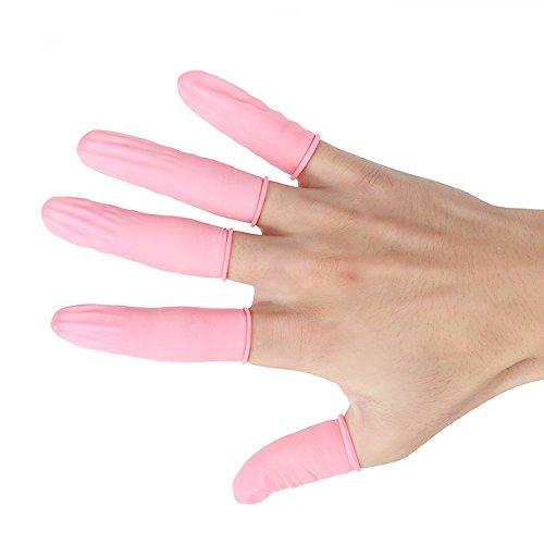 KUNSE Abeso A7214 100Pcs Durable Pink Latex Finger Babybetten Sicherheits Handschuh Anti-Slip Für Chalk Electronic