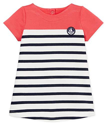 Petit Bateau Baby-Mädchen Robe MC_4738602 Kleid, Mehrfarbig (Groseiller/Marshmallow/Smoking 02), 92 (Herstellergröße: 24M/86cm)