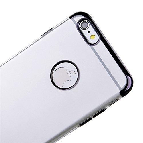 iPhone 6 / iPhone 6s Hülle, Yokata Klar Weich Silicone Case mit Schwarz Silikon Bumper Crystal Schutzhülle Durchsichtig Transparent Dünne Case Cover + 1 X Stylus Pen Transparent und Schwarz