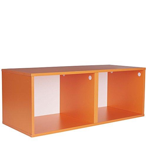 Haushalt Essentials Modular doppelte Cube Aufbewahrung, Orange, Volle Größe (Modulare Wand-systeme)