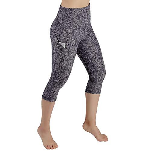 Sioneit Yoga Hosen Mit Taschen Für Frauen Elastische Taille Leggings Hosen Graue Sportshorts Weiche Workout Fitness Laufen Gym Stretch