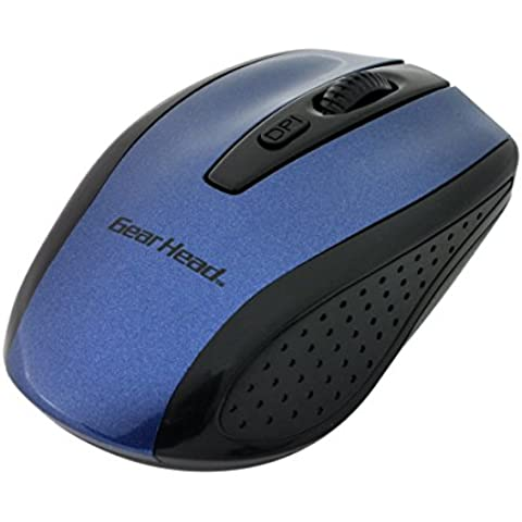 GEAR HEAD MP2125 - Ratón MP2125BLU 2.4GHz Wireless Optical Nano Mouse - Azul