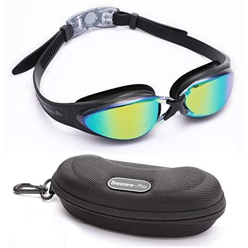 Schwimmbrille - Farbe Objektiv Gläser Taucherbrille, UV Schutz, Wasserdicht, Experten Anpassbar Schwimmbrille für Erwachsene, Männer, Frauen, Jugendliche 10+ mit Schutz Etui