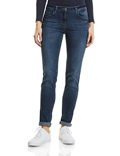 CECIL Damen Straight Jeans 371173 Charlize Tuxedo, Blau (Authentic Used Wash 10285), W33/L30 -
