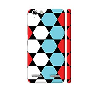 Colorpur Red Blue White Hexagonal Blocks Pattern Artwork On Lenovo Vibe K5 / K5 Plus Cover (Designer Mobile Back Case) | Artist: Sangeetha