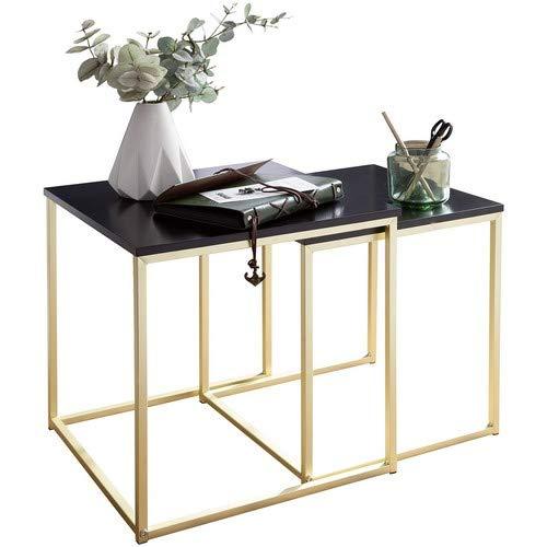 Wohnling Satztisch CALA Schwarz/Gold Beistelltisch MDF/Metall | Couchtisch Set aus 2 Tischen | Kleiner Wohnzimmertisch | Metalltisch mit Holzplatte | Ablagetisch modern -