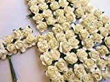 """144pc Mulberry Paper 1/2"""" Rose Flower With Wire Stem (Ivory)"""