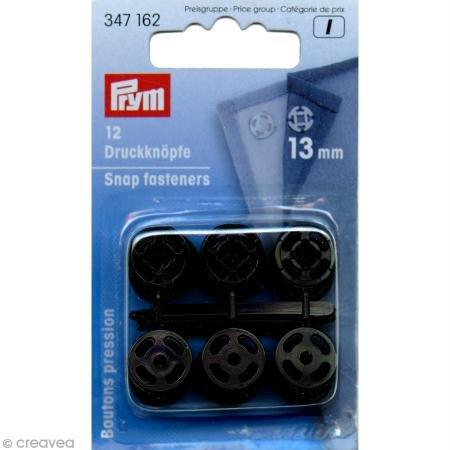 Boutons-pression à coudre 13 mm plastique noir
