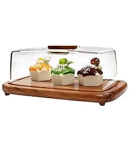 Peachesbizarre Rubberwood Rectangular Cheese/Cake Dome With Acrylic Cover