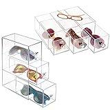 mDesign Set da 2 portaocchiali – Portaoggetti e porta occhiali con 3 cassetti – Per occhiali da sole, occhiali da riposo, occhiali da lettura – Trasparente