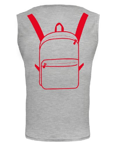 buXsbaum® Tank Top Traveller-Bag Rückendruck Heathergrey-Red