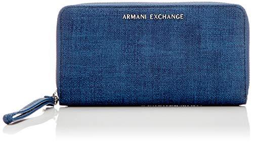 89b14f878b ARMANI EXCHANGE Texturized Round Zip Wristlet - Portafogli Donna, Blu  (Denim), 11.0