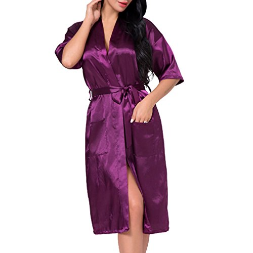 Juleya Long Robe Sexy Faux Silk Satin Night Robe Kimono Robe Sólido Albornoz Moda Bata Violeta Oscuro 3XL
