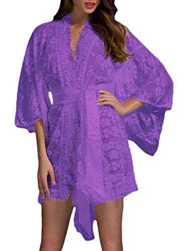 SunIfSnow Frauen-reizvolle Pyjamas Der Spitze-Spitze Gegurtete Robe (Camisole Spandex Satin)