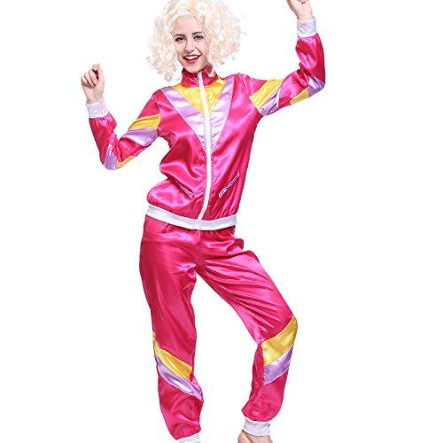 Maboobie - Disfraz de ochentero en chándal para Mujer Color Rosa Disfraces de los años 80 Deportiva Retro 80s (M) (L)