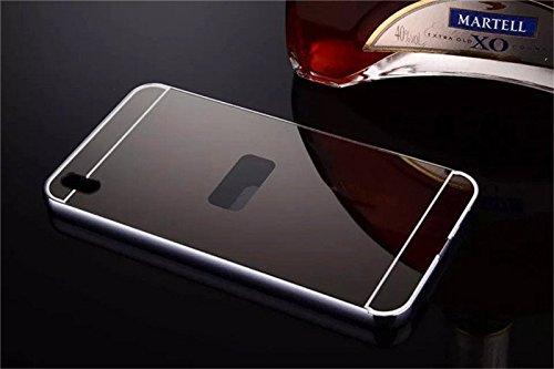 AEMA (TM) Luxury Metal Bumper + Acrylic Mirror Back Cover Case For HTC DESIRE 816 GREY