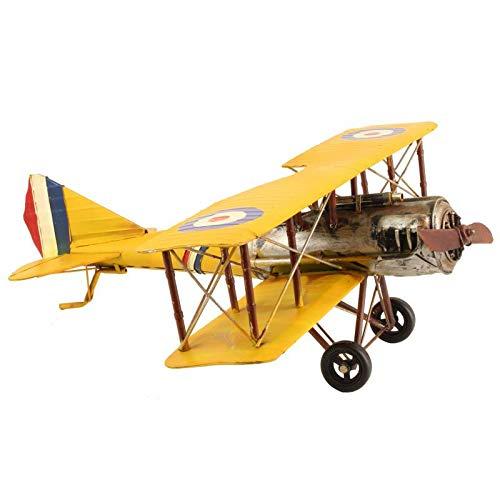 L'Héritier Du Temps Miniature Avion de Guerre Réplique Biplan Maquette Aerienne France en Métal Multicolore 25x58x62cm